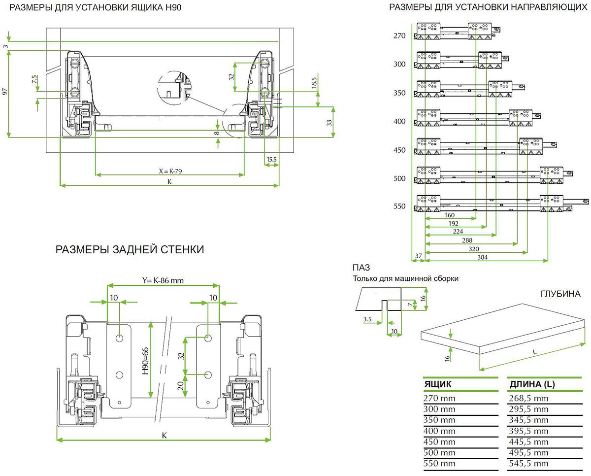 Выдвижные механизмы для ящиков схема