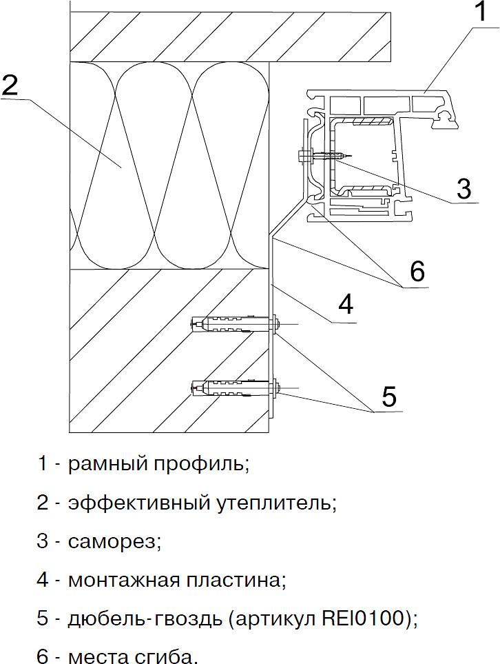 Крепление окна из ПВХ с использованием анкерных пластин